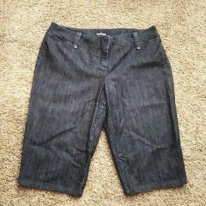 Lane Bryant size 24 cropped denim blue jeans.